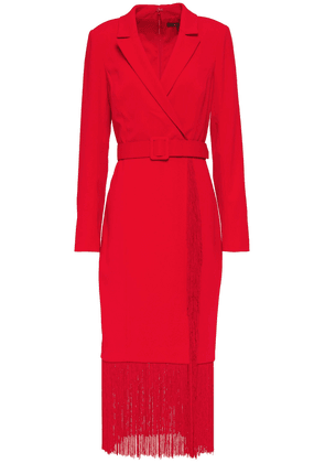 Badgley Mischka Fringed Belted Stretch-crepe Midi Dress Woman Red Size 4