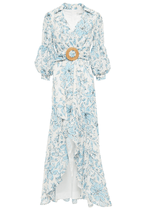 Badgley Mischka Asymmetric Embroidered Floral-print Georgette Dress Woman White Size 2