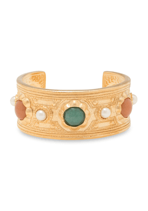 Ben-amun Gold-tone, Faux Pearl And Stone Cuff Woman Gold Size --