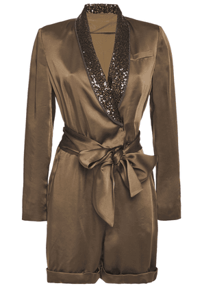 Brunello Cucinelli Belted Embellished Satin Playsuit Woman Army green Size M