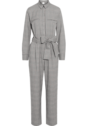 Iris & Ink Isabelle Belted Prince Of Wales Checked Cady Jumpsuit Woman Gray Size 8