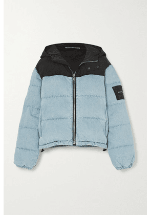 Alexander Wang - Puffer Hybrid Hooded Quilted Padded Denim And Shell Jacket - Light blue