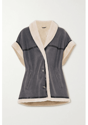 Isabel Marant Étoile - Adelia Shearling-trimmed Leather Jacket - Gray