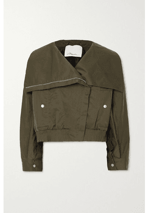 3.1 Phillip Lim - Padded Cotton-blend Canvas Bomber Jacket - Army green