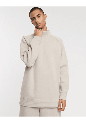 ASOS WHITE balloon sweatshirt in bonded heavy weight jersey-Beige