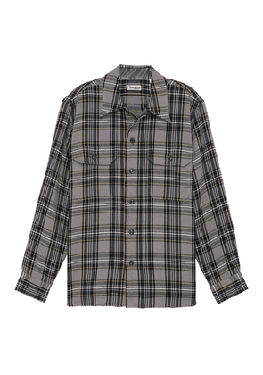Plaid flannel print double chest pocket shirt