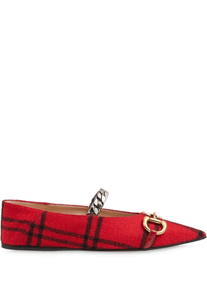 Gucci checked ballerina flats - Red