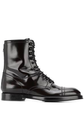 Dolce & Gabbana ankle lace-up leather boots - Brown