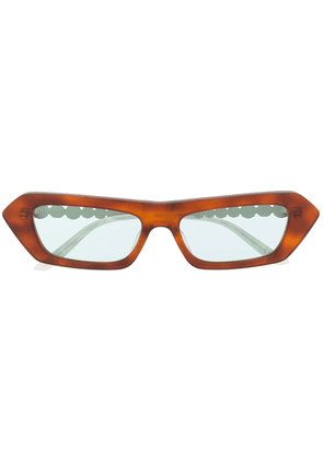 Gucci crystal-embellished rectangle sunglasses - Brown