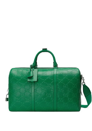 Gucci logo-embossed holdall - Green