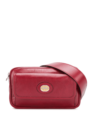 Gucci logo plaque belt bag - Red