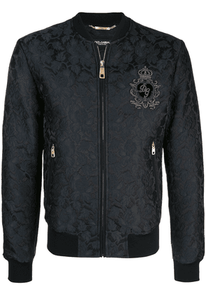 Dolce & Gabbana embroidered logo patch bomber jacket - Black