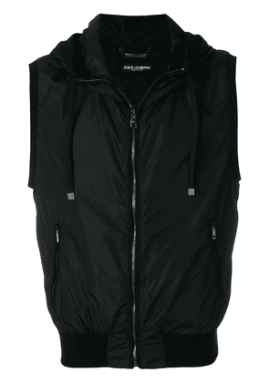 Dolce & Gabbana drawstring hooded padded gilet - Black