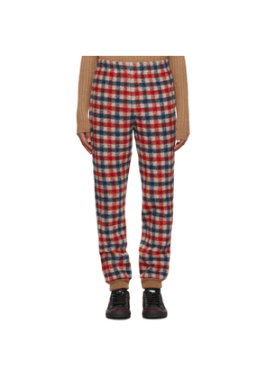 Gucci Red and Blue Wool Check Lounge Pants
