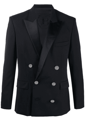 Balmain contrast lapel jacket - Black