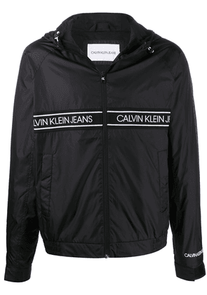 Calvin Klein Jeans logo hooded bomber jacket - Black