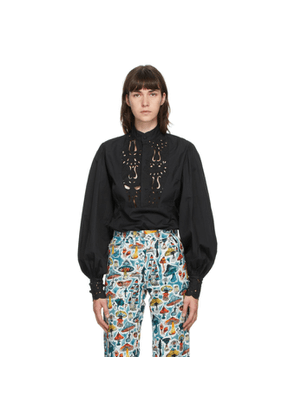Charles Jeffrey Loverboy Black Embroidered Pagan Dress Shirt