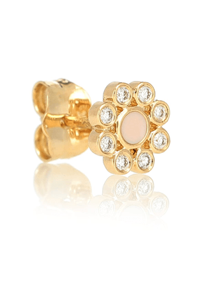 Floral 18kt yellow gold single earring with diamonds