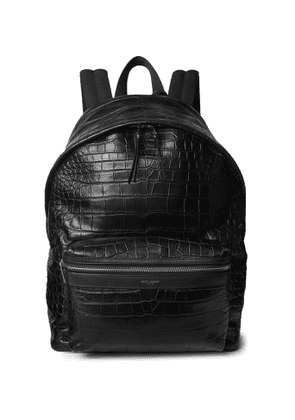 SAINT LAURENT - City Croc-Effect Leather Backpack - Men - Black
