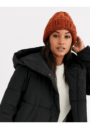 ASOS DESIGN chunky knit beanie hat in tobacco-Brown
