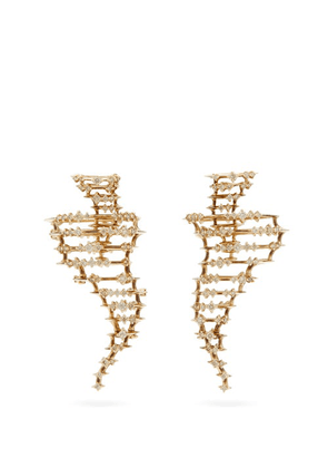 Bibi Van Der Velden - Big Tornado Diamond & 18kt Gold Earrings - Womens - White Gold
