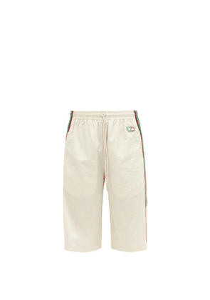 Gucci - GG-patch Crinkle Shell Shorts - Mens - White Multi