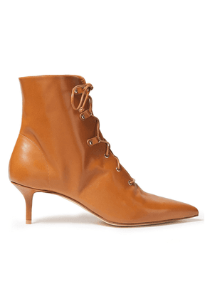 Francesco Russo Lace-up Leather Ankle Boots Woman Light brown Size 36