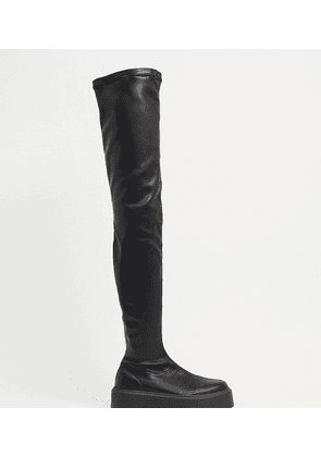 ASOS DESIGN Wide Fit Katie chunky over the knee boots in black