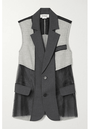 Monse - Paneled Wool-blend And Tulle Vest - Charcoal