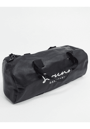 ASOS DESIGN holdall bag in black faux leather with text print