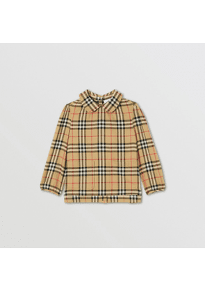 Burberry Childrens Peter Pan Collar Vintage Check Cotton Blouse