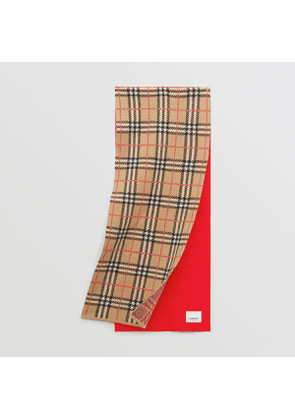 Burberry Childrens Colour Block Check Merino Wool Jacquard Scarf, Red