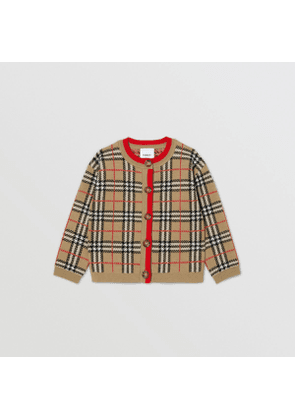 Burberry Childrens Check Merino Wool Jacquard Cardigan
