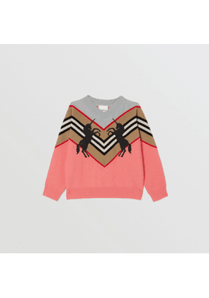 Burberry Childrens Unicorn Embroidered Technical Wool Sweater, Peach