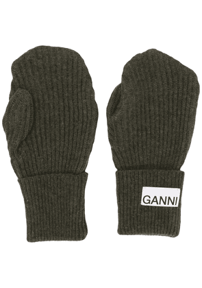 GANNI logo-patch mittens - Grey