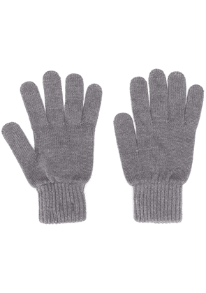 Calvin Klein logo-patch knit gloves - Grey