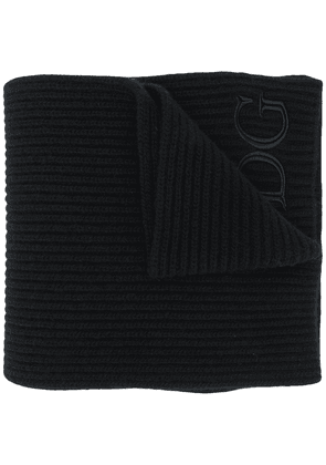 Dolce & Gabbana logo-embroidered ribbed-knit scarf - Black