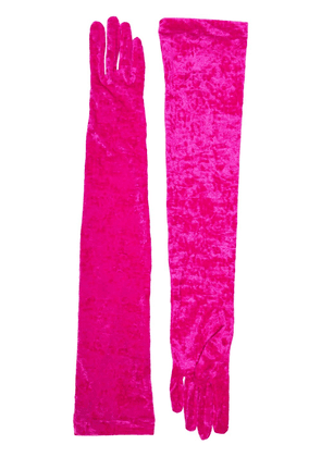 Marine Serre velvet long gloves - PINK
