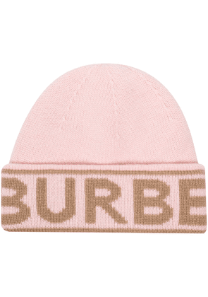 Burberry intarsia-knit cashmere beanie hat - PINK