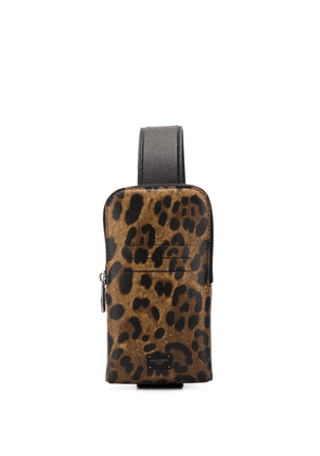 Dolce & Gabbana leopard print cross-body bag - Neutrals