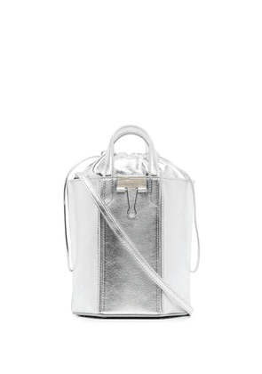 Off-White Vintage Allen metallic leather bucket bag - SILVER