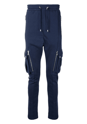 Balmain drop-crotch cotton track pants - Blue