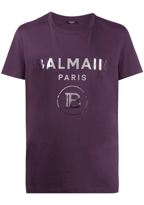 Balmain logo print cotton T-shirt - PURPLE
