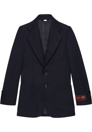 Gucci logo label wool jacket - Blue