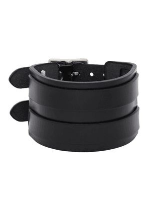 Junya Watanabe Black Leather Double Bucket Bracelet