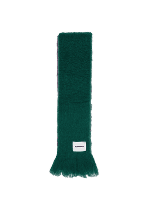 Jil Sander Green and Purple Mohair Scarf