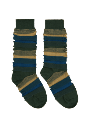 Issey Miyake Men Green Short Stepborder Socks