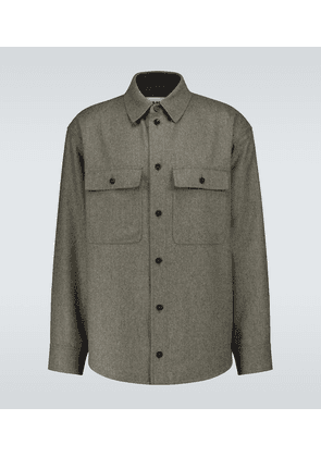 Compact wool flannel overshirt