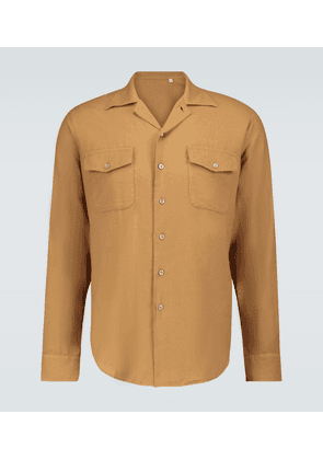Button-down long-sleeved shirt