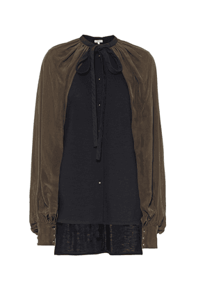 Caped wool-blend blouse